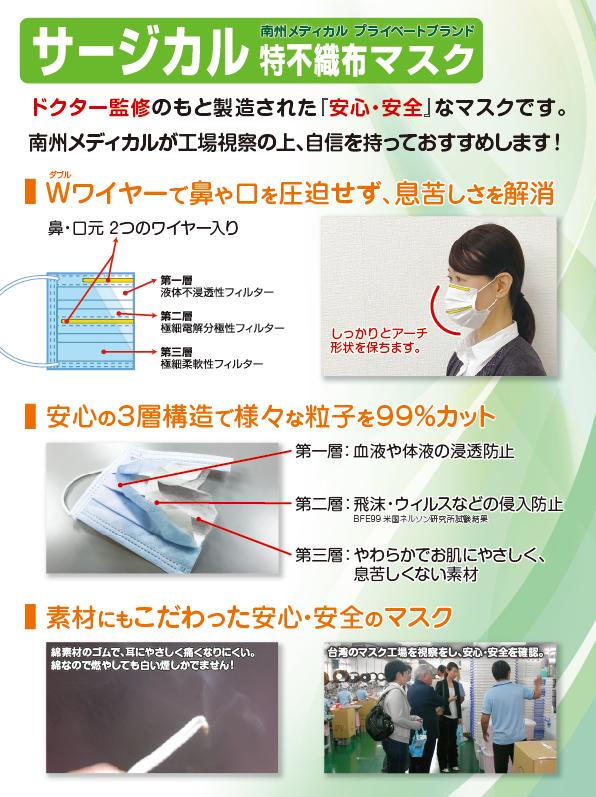 特不織布マスク Wワイヤーで鼻や口を圧迫せず、息苦しさを解消 安心の3層構造で様々な粒子を99%カット 素材にもこだわった安心・安全のマスク